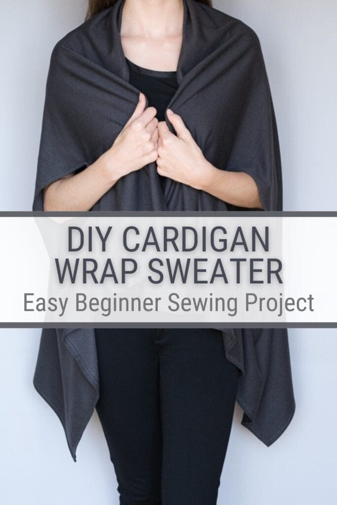 pinnable graphic about how to sew a wrap cardigan sweater including an image of the project and text overlay