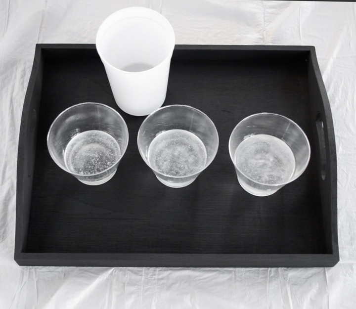 clear resin poured into cups