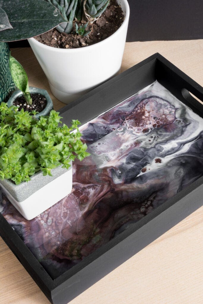 finished resin and wood tray with a plant on it