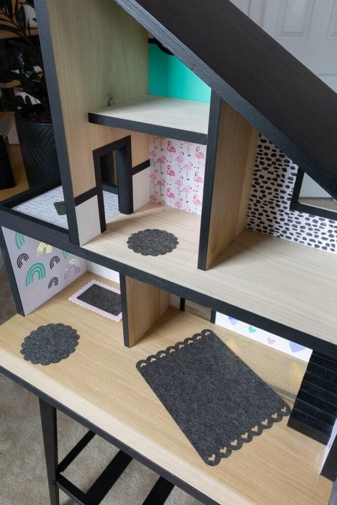 DIY dollhouse rugs made using a Cricut machine and felt