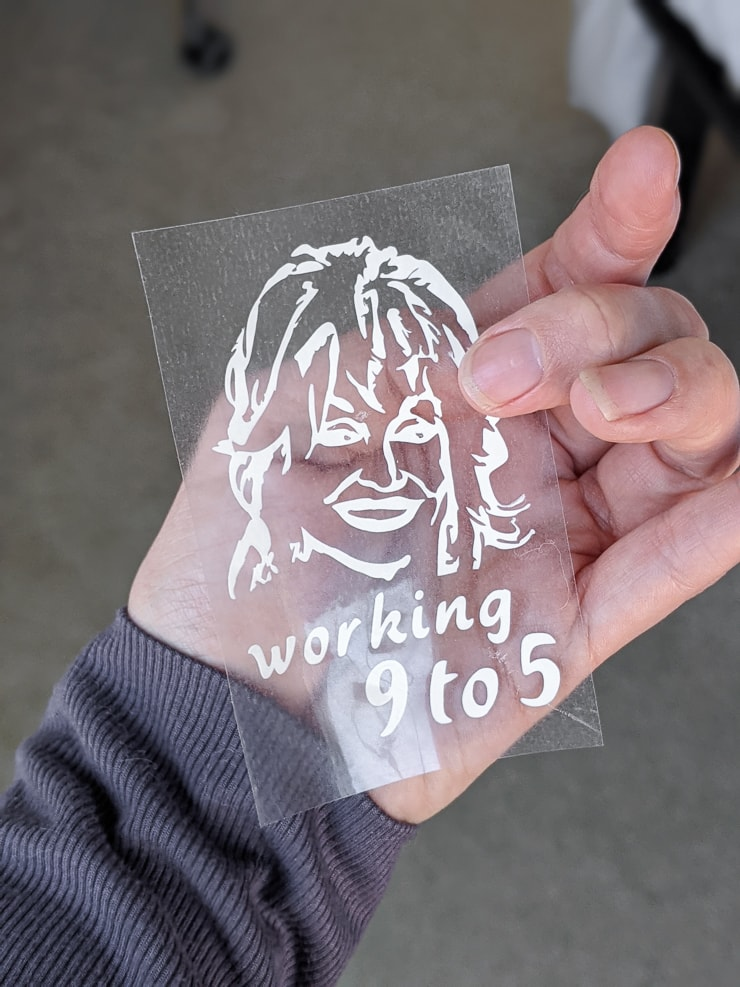 Dolly Parton svg file cut out of Cricut Infusible Ink