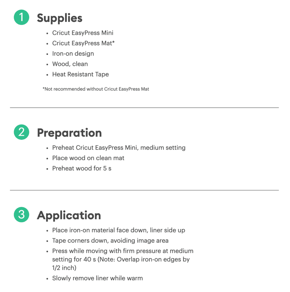 Cricut heat guide screenshot