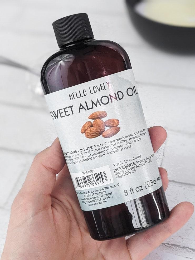 sweet almond oil bottle