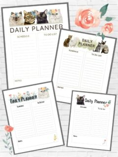 collage of printable cat-themed daily planner pages