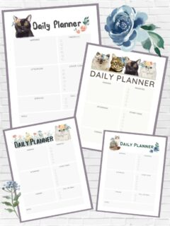 images of printable daily planner pages in a collage