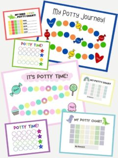 pinnable graphic with images of some of the free printable potty trackers