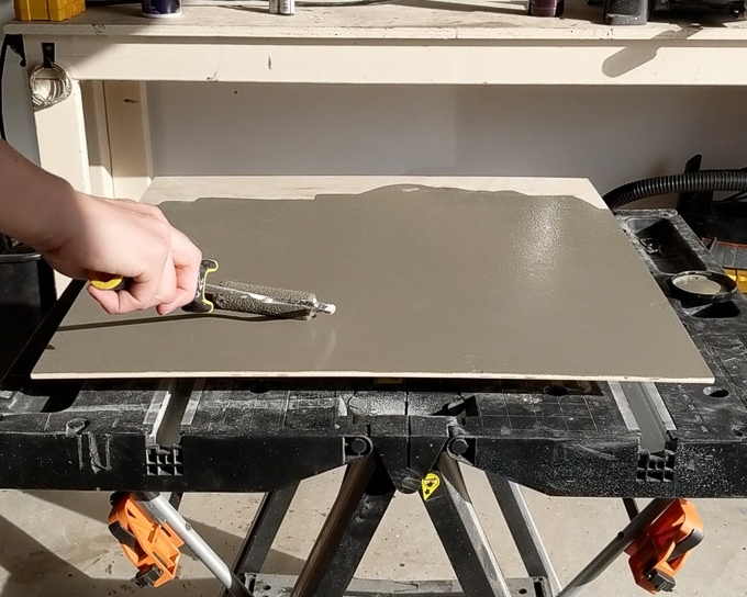 painting a piece of plywood