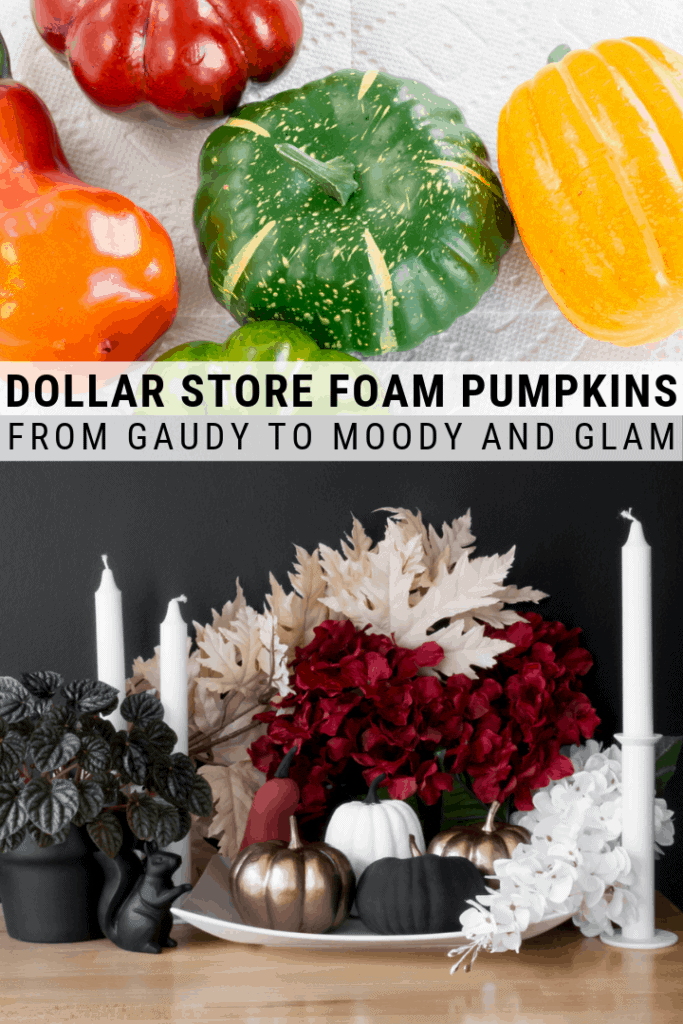 pinnable graphic about how to paint dollar store foam pumpkins including images and text overlay
