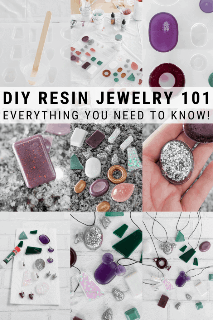 pinnable graphic about how to make resin jewelry including photos and text overlay