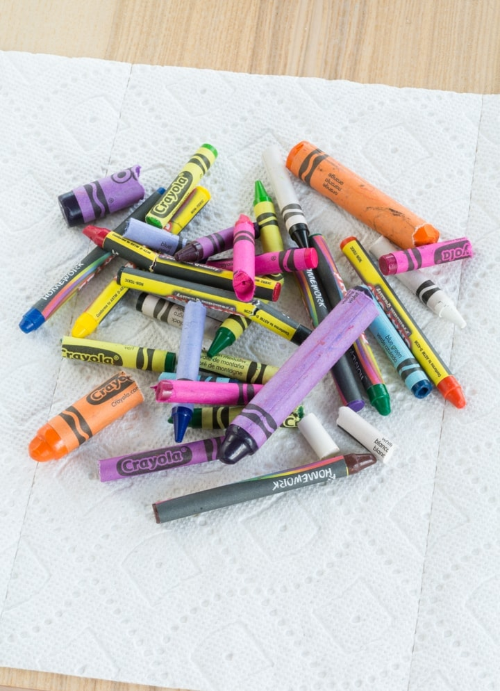 broken crayons on a table