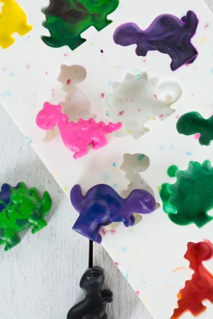 finished unicorn and dinosaur crayons