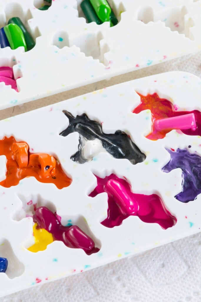 melting crayons in silicone molds