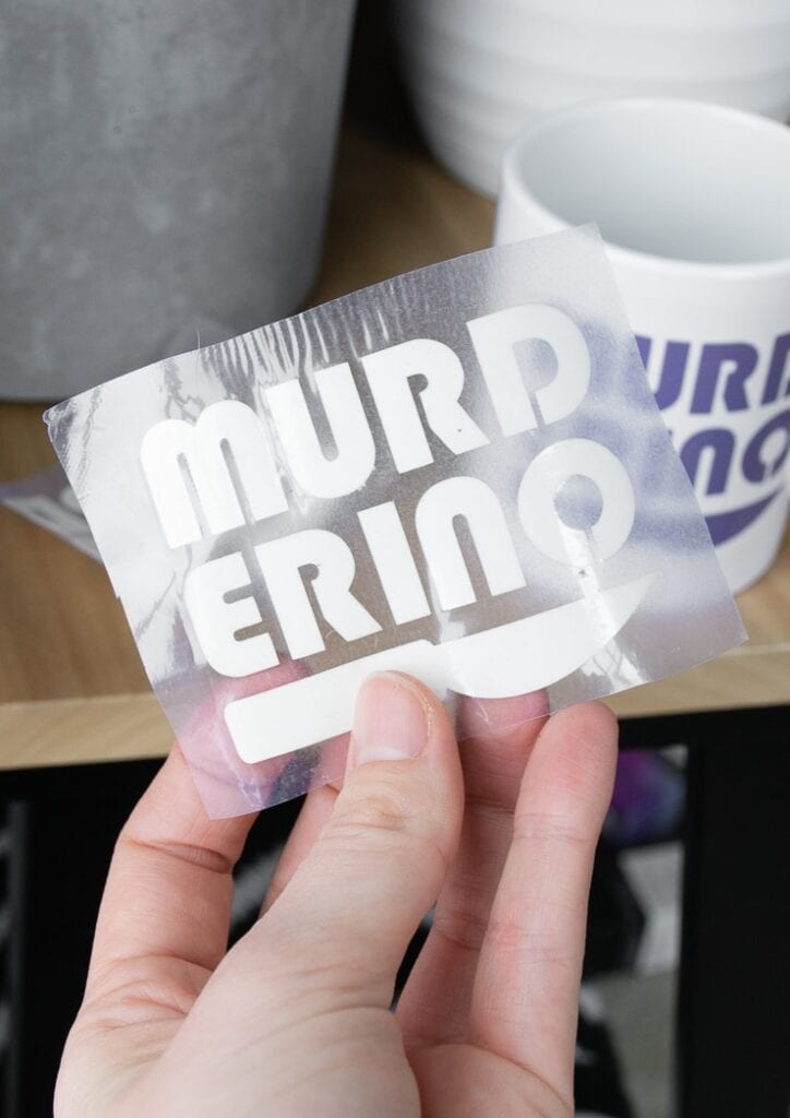 """Infusible Ink transfer sheet weeded that says """"murderino"""""""