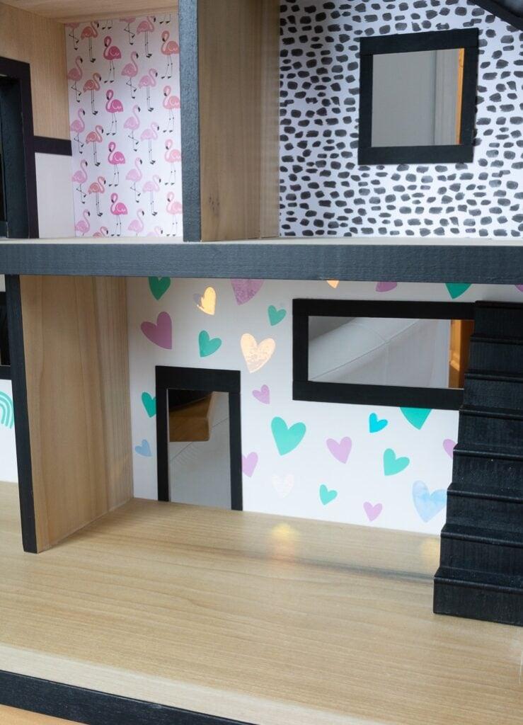 DIY wallpaper for a dollhouse using adhesive vinyl and Cricut