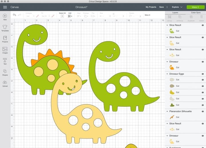 screenshot of dinosaur designs in Cricut's Design Space