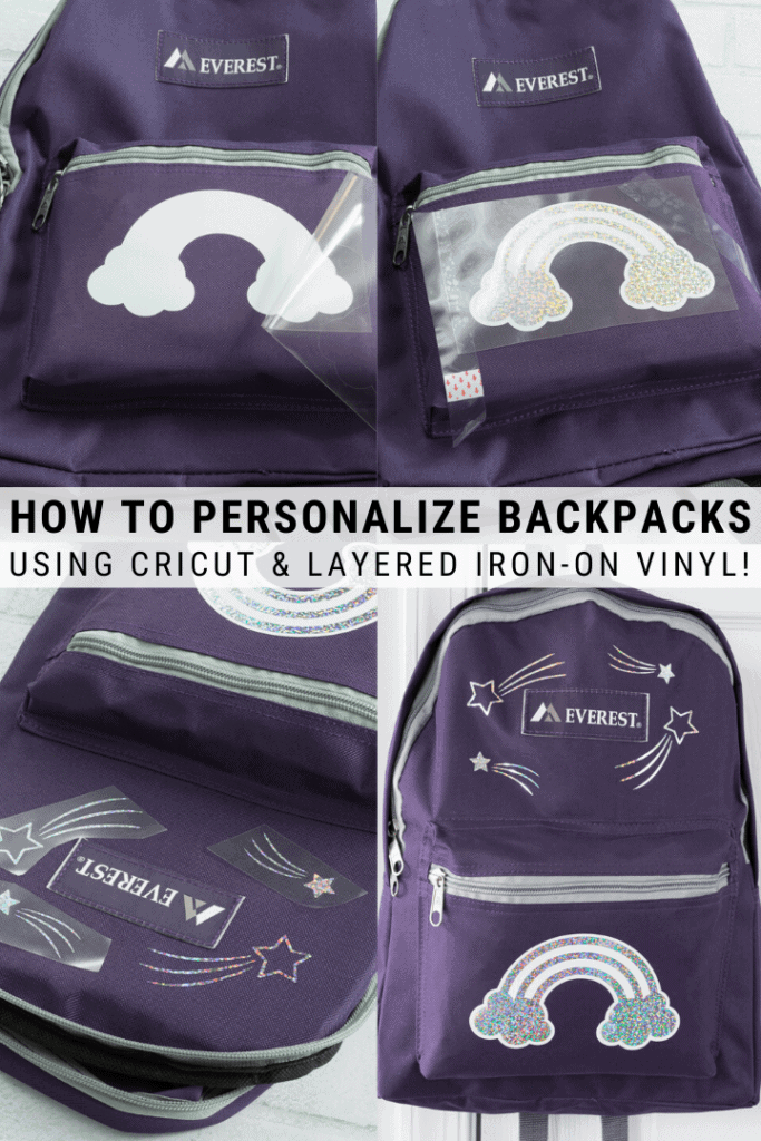 pinnable graphic with images about how to personalize a backpack using Cricut and text overlay