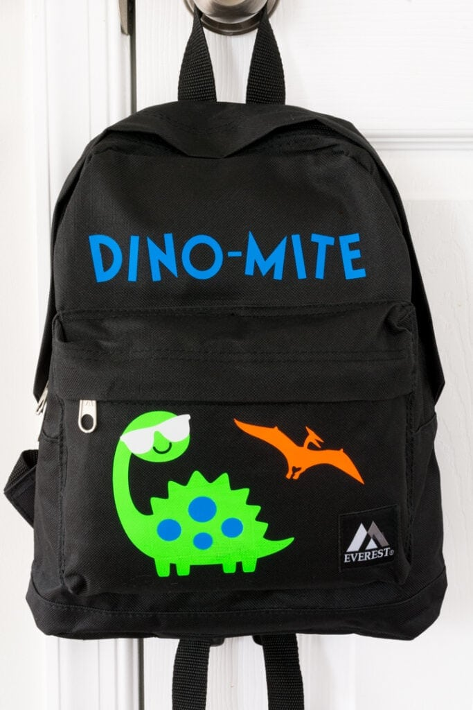 finished dinosaur-themed personalized backpack