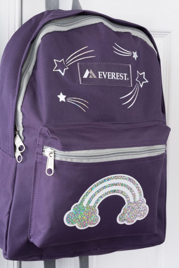 finished rainbow-themed personalized backpack