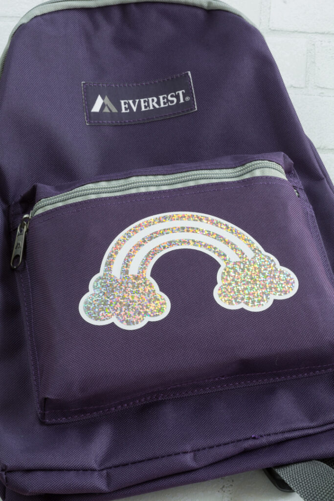 holographic rainbow transferred to the backpack