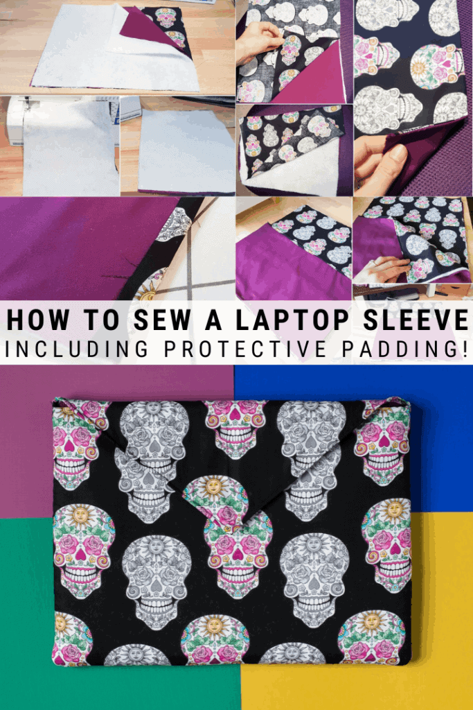pinnable graphic about how to sew a laptop sleeve including photos and text overlay