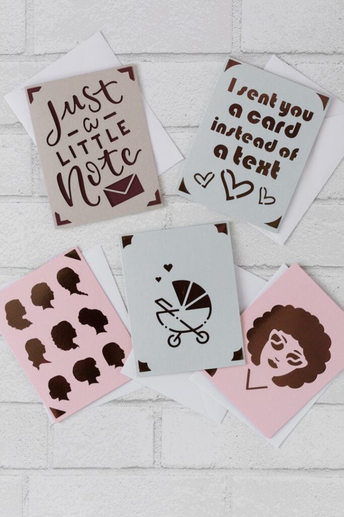 finished greeting cards cut on the Cricut Joy machine