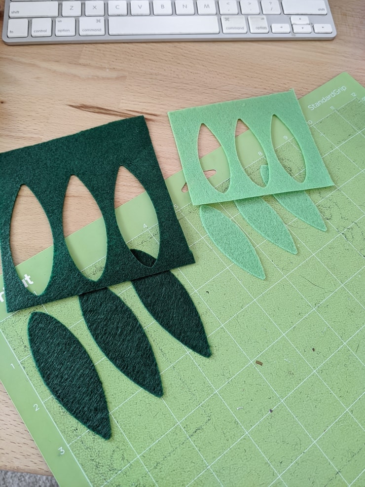 Cutting pieces out of felt on a Cricut