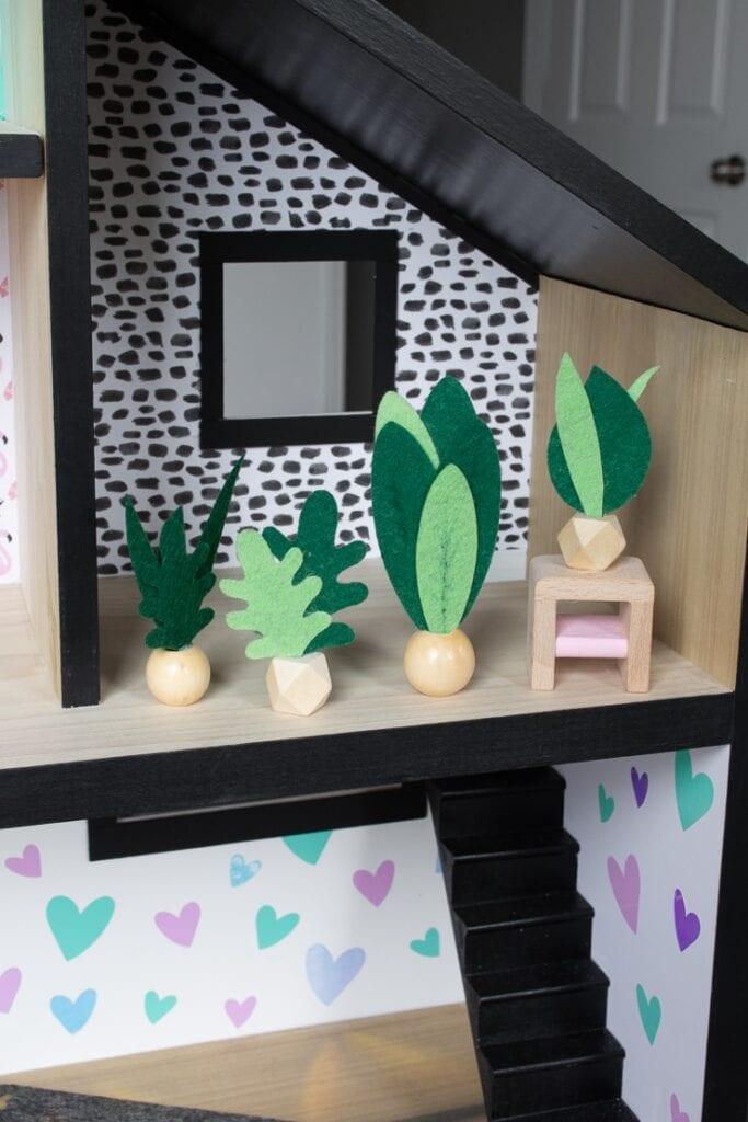 Finished felt faux plants for a dollhouse made using a Cricut machine