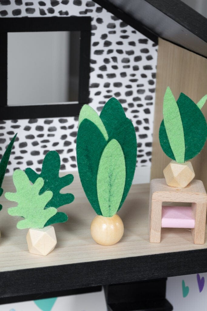 finished felt faux plants made using a Cricut machine for a dollhouse