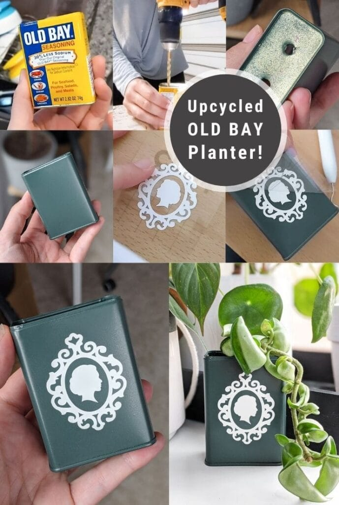 pinnable graphic about how to make a planter out of an upcycled can including photos and text overlay