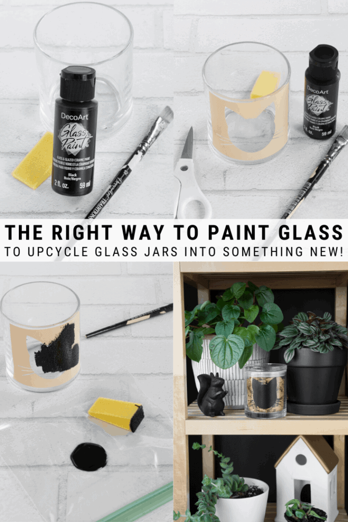 pinnable grpahic about the right way to paint glass using acrylic paint with images and text overlay