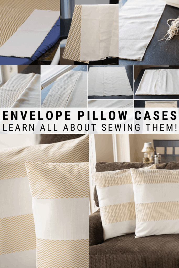 pinnable graphic about how to sew envelope pillow cases including pictures and text overlay