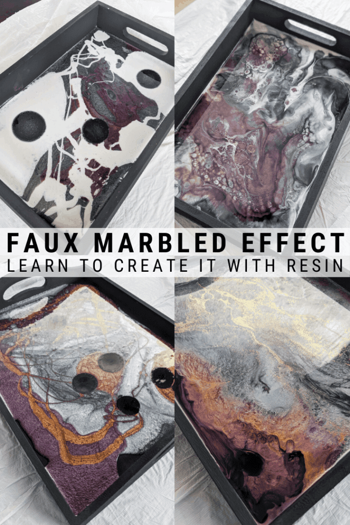 pinnable graphic about how to make a DIY resin and wood tray using colors and dye including photos of the process and text overlay