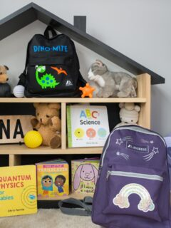 finished personalized backpackes in a kids room