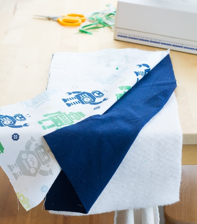 pieces of fabric for the burp cloth