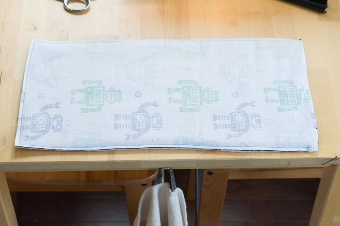 sewing the burp cloth inside out