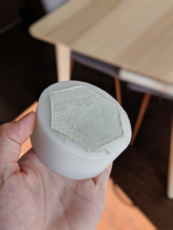 concrete in a matte silicone mold