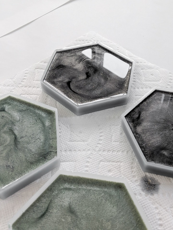 resin pouring into silicone coaster molds