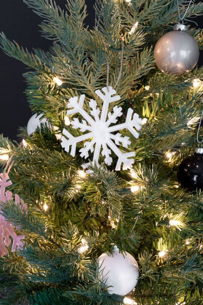 resin snowflake ornament made using a DIY silicone mold