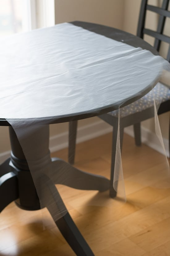 Tulle fabric laid over a table