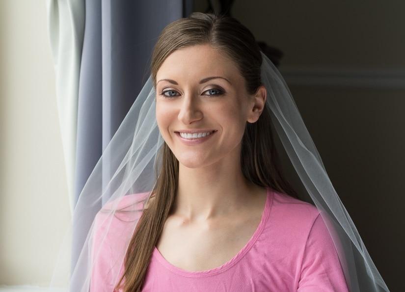 Woman wearing a DIY bridal veil
