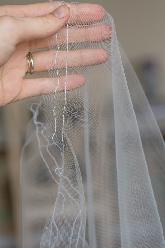 tulle with a line of fabric sewn