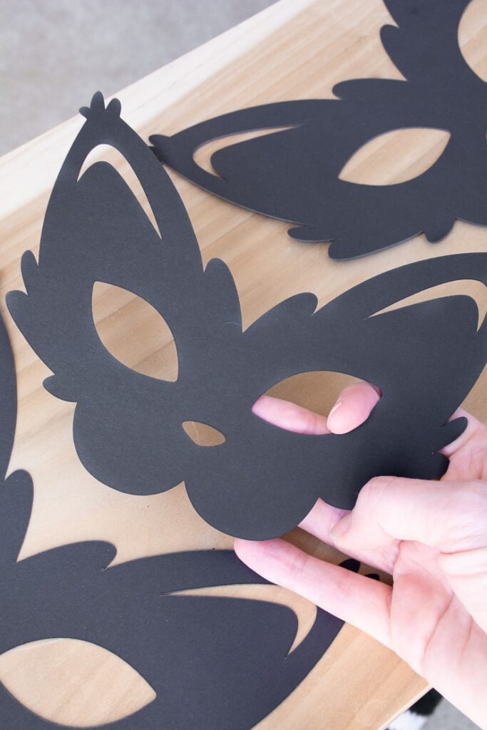 DIY cat party mask cut out using a Cricut machine