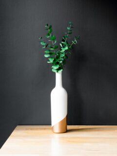 finished wine bottle upcycle turned into a bud vase