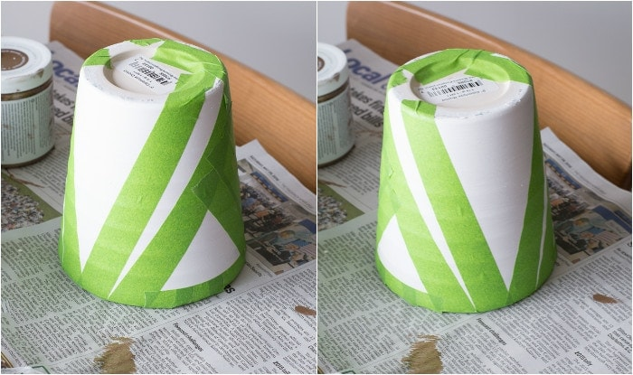 applying painter's tape to the pots