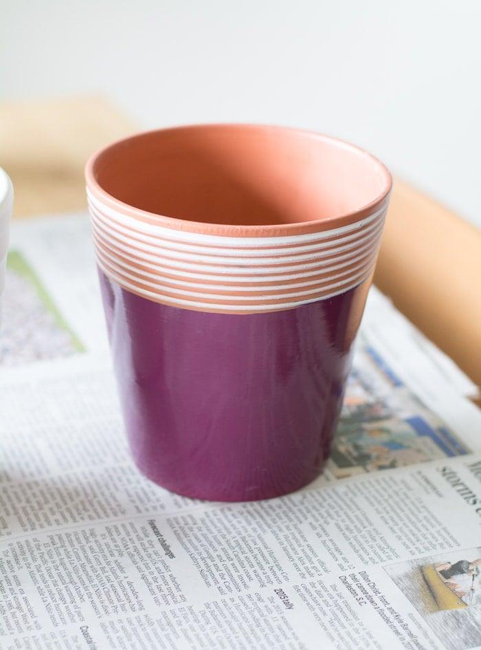 plaint thrifted pot on a table