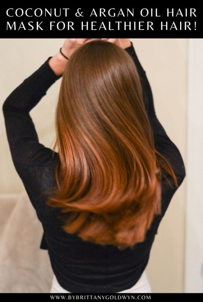 Beautiful hair with text overlay that says Coconut and Argan Oil Hair Mask for healthier hair