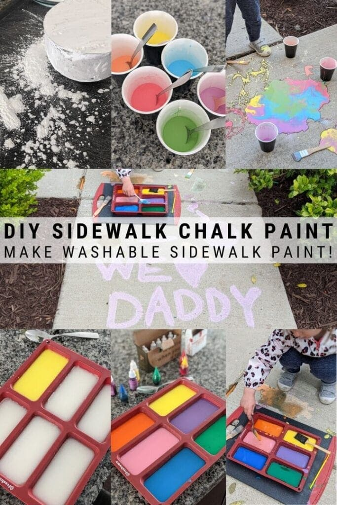 pinnable graphic about DIY sidewalk chalk paint including images of it and text overlay