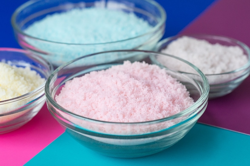 colored bath salts on a table