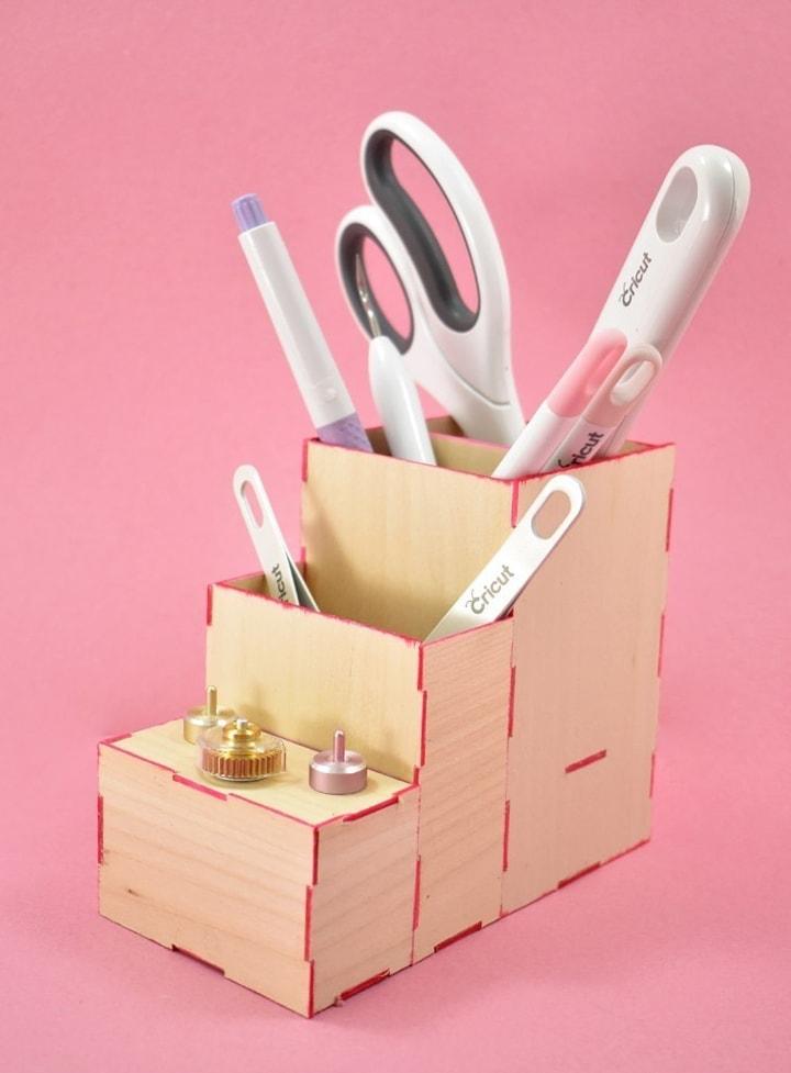 wooden desktop organizer made using a Cricut Maker knife blade