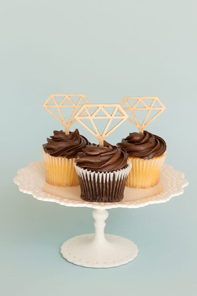 chipboard diamond cupcake toppers made using a Cricut machine